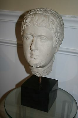 Ancient Roman White Marble Head Emperor Caligula Classical Bust Mounted on Stand
