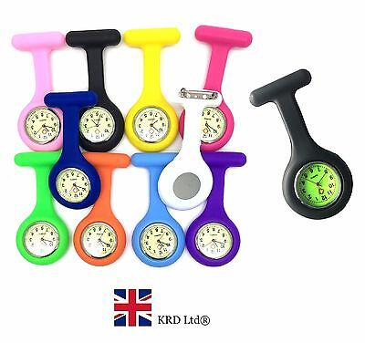 GLOW IN THE DARK Silicone Nurse Watch Plain Fob Brooch Tunic NEW FREE BATTERY B3