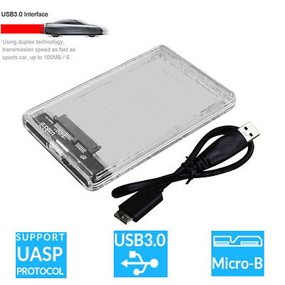 """Transparent USB 3.0 to Sata 3.0 HDD Case 2.5"""" Hard Drive Enclosure Speed 5GbpsWS"""