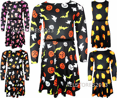 Girls Long Sleeved Skater Dress New Kids Halloween Costume Dresses 5-13 Years.