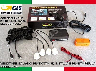 Kit 4 Sensori Di Parcheggio Auto Bianchi Display Volkswagen Polo Golf Passat Up