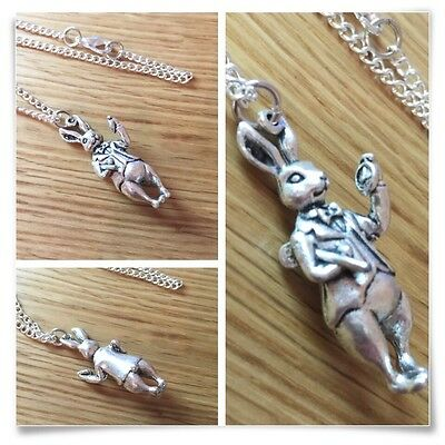 Alice in Wonderland The White Rabbit I'm Late Charm Necklace