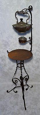 Antique 19th Century Arts and Crafts Mission Wrought Iron Tea Stand Burner 48""
