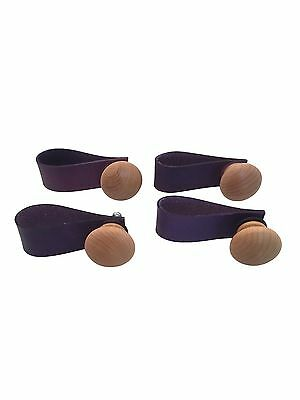 Pack of 4 Leather Furniture Pulls - Purple Stained Drawer Pulls Dresser Kitchen