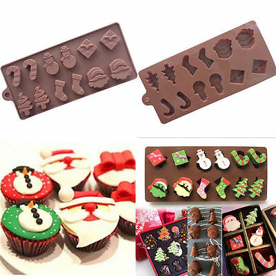 Silicone Christmas Tree Snowman Chocolate Mould Cookies Cake Icing Baking Mold