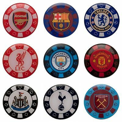 Various Football Club Team Poker Chip Crest Metal Enamel Pin Badge Official
