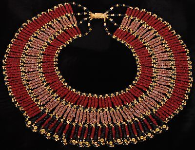 Marvellous Egyptian Red Mummy bead Cleopatra Collar Necklace