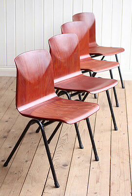 Vintage Industrial Set of 4 Stacking Thur-Op-Seat Pagholz Dining Chairs