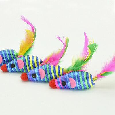 Mini Mouse Cat Toy Colourful Rattle Feather Tail Kitten Play *PACK OF 5 MICE*