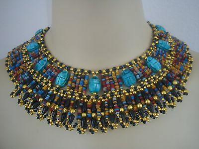 Beautiful Egyptian Hand Made Scarab Mummy bead Cleopatra Collar Necklace
