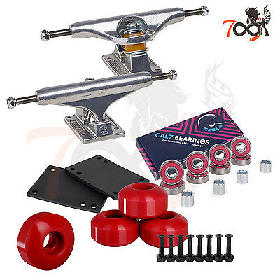 Independent 144 Skateboard Trucks Combo Abec 7 Bearing 52mm Red Wheels