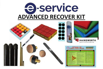 7 Foot Pool Table Cloth Recovery Kit - Advanced - Hainsworth Cloth, Glue, Balls
