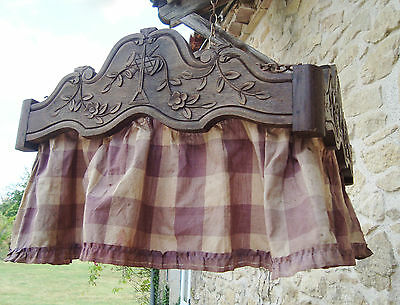 Rare Antique French Ciel De Lit Bed Canopy Carved Wood With Skirt Shabby Style