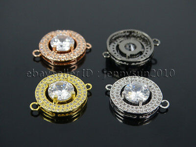 Big Round Center Clear Zircon Gemstone Pave Bracelet Connector Charm Beads Gold