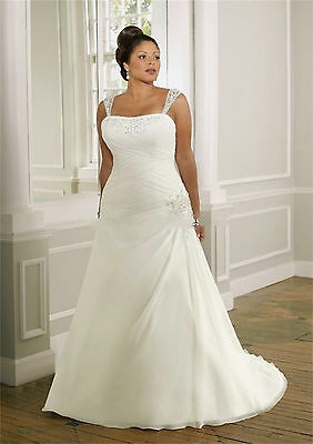 Plus size New white/ivory Wedding dress Bridal Gown custom 14-16-18-20-22-24-26