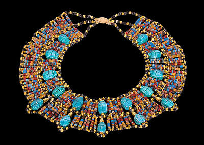 Beautiful Egyptian Hand Made 14 Scarabs Mummy bead Cleopatra Collar Necklace