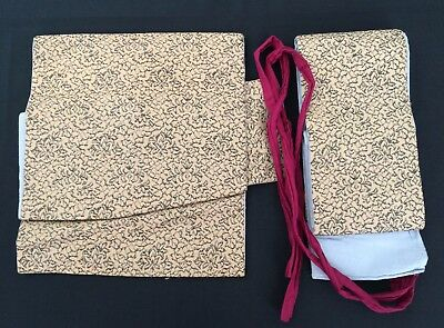 Authentic Japanese one-touch brown obi for kimono, used, made in Japan (E1666)