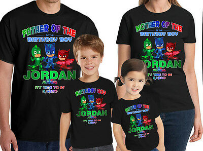 PJ Masks Birthday Shirt Custom Name and Age Personalized Family Shirt