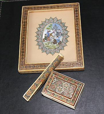 Vintage Persian Inlaid Photo Frame, Matchbox Holder & Cigarette Holder