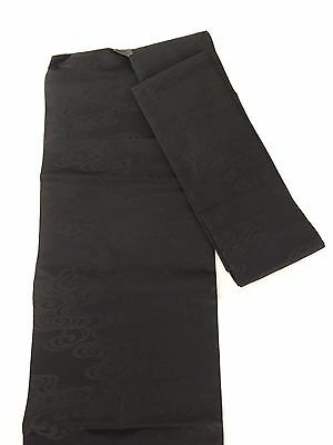 Authentic Japanese black silk nagoya obi, good condition, Japan import (E1669)