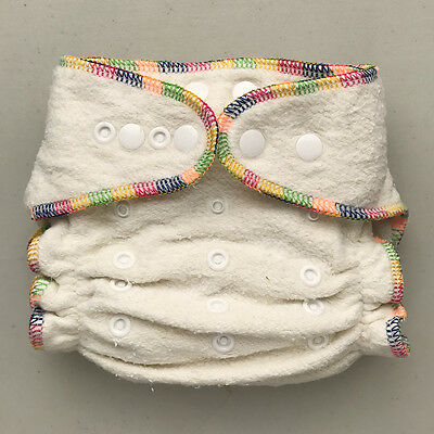 Pre-Owned Hemp / Organic Cotton Fitted Cloth Diaper, One Size 10-30 Lb