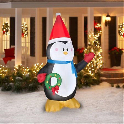 8 ft Christmas Inflatable Penguin With Wreath