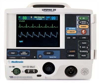Physio-Control Lifepak 20 Biphasic 3 Lead ECG Pacing Analyze Hands Free AED Mode