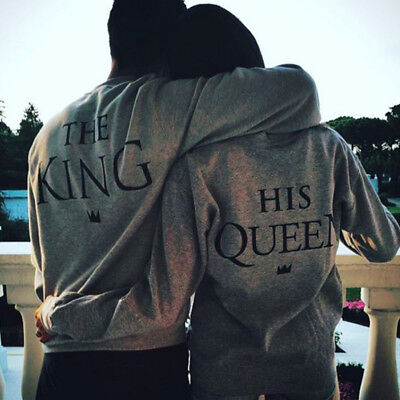 New Fashion Couple King and Queen Love Matching Hoodie Casual T-Shirt Tee Tops