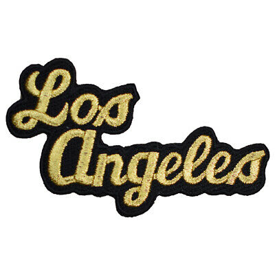 Los Angeles Script Patch - Black and Gold (Iron on)