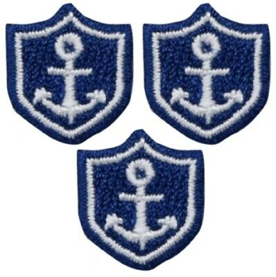 Yellow Nautical Anchor Shield Badge Line Embroidery Patch