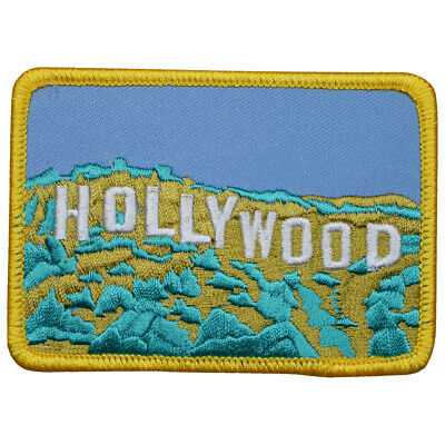 """Hollywood Sign Patch - Los Angeles, California, CA Badge 3.5"""" (Iron on)"""