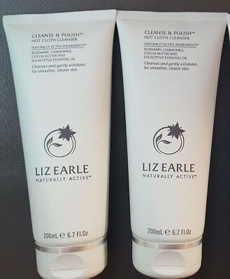 2  LIZ EARLE CLEANSE AND POLISH HOT CLOTH CLEANSER  200ml IN EACH TUBE NEW