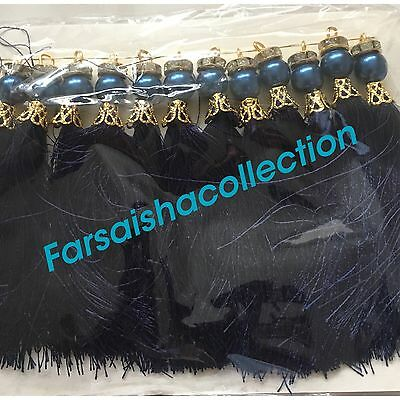 12Pearl Bead tussles / Navy Blue + Gold/ Pakistani Indian art and craft
