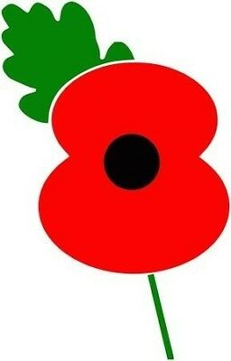 Poppy day, rememberence day, lest we forget poppy vinyl decal sticker car van jd