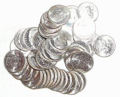 Uncirculated BU Silver Roosevelt Dimes Mixed Dates 1953-S 1960-D 1961-D 1962-D