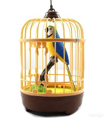 Haktoys Realistic Singing & Chirping Bird Toy with Cage, Damaged Box, Ships Free