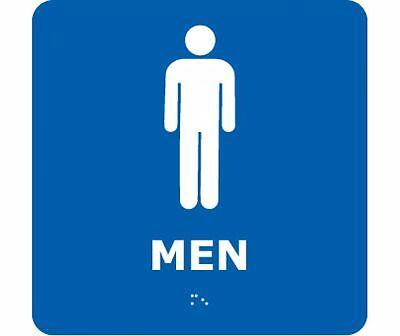 NEW National Marker ADA1WBL MEN BRAILLE SIGN