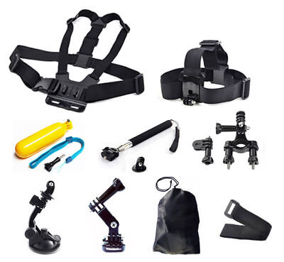 9-in-1 Head Chest Mount Accessories Kit Set For GoPro Hero 1 2 3 4 5 6 Camera