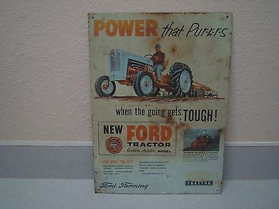 "Vintage Ford Tractor Metal Sign  12"" x 17""  Ford Motor Co. Made In USA"