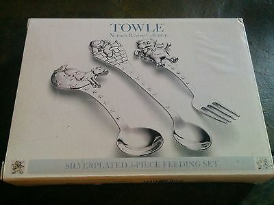 TOWLE Nursery Rhyme Collection Silver Plated 3 Piece Feeding Set