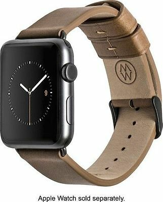 Monowear Apple Watch 38mm Brown Genuine Leather Band Dark Space Gray Adapter NEW