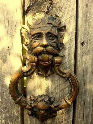 Antique bronze head satyr devil demon door knocker doorknocker ornament