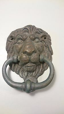 Antique brass bronze lion head door knocker doorknocker patine ornament