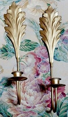Vintage Pair Wall Sconces Candle Holders ~Tole Gold Gilt Art Deco Style