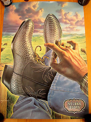 Vtg Store Display POSTER Nocona Boots Cowboy Rodeo Advertising RaRe Ebel SIGN #1