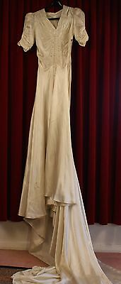 SMALL,1930's WHITE SATIN, BEADED WEDDING DRESS. ORIGINAL VINTAGE ,LONG TRAIN.