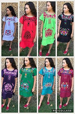 MEXICAN MINI TUNIC DRESS Size Medium, HANDMADE , EMBROIDERED , PUEBLA , VINTAGE