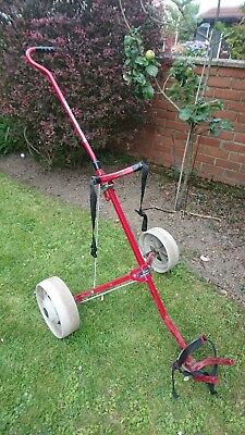 Titleist Turfglider Manual Push & Pull Trolley Collapsible Stow Away. Red VGC