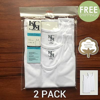 2 PACK Boys WHITE 100% Egyptian Cotton Tank Top A-Shirts 2T 4T S M L XL NEW