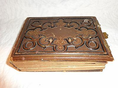 Antique 1800's Photograph Album with 57 Antique Photos, Leather w Brass Clasps